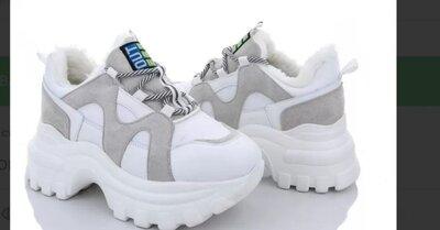 Зимние кроссовки р.37-40, женские ботинки, белые, зимові чоботи білі