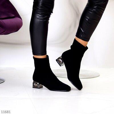 Женские демисезонные чёрные ботинки ботильоны на устойчивом каблуке