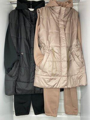 Тёплый костюм на флисе с жилеткой 4 цвета 42 - 56