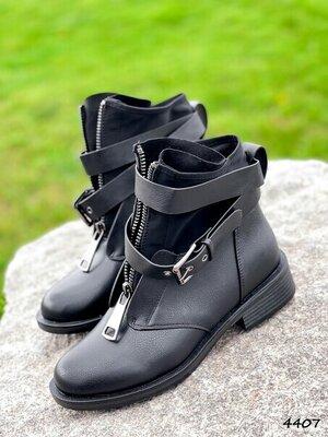 Ботинки женские Sanli черные Деми Код 4407 Материал эко-кожа неопрен