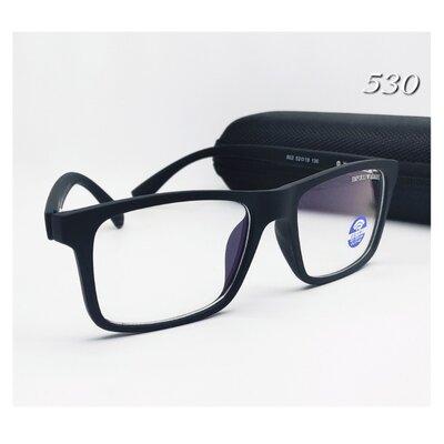 Мужские очки компьютерные в матовой оправе флекс дужки в футляре