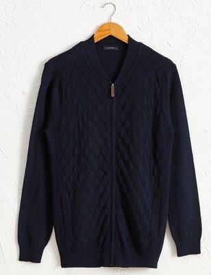 Синяя мужская кофта LC Waikiki/ЛС Вайкики рельефной вязки в ромбы, с карманами
