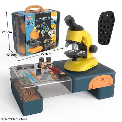 Микроскоп в чемодане 27,3 12,4 22,8 см, обучающий набор для маленького ученого