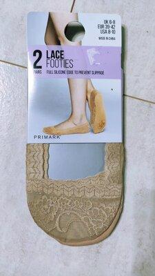 Набор кружевных носков-следов с силиконовыми стопорами, 2 пары