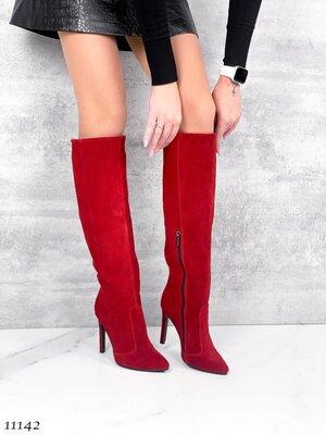 Женские натуральные кожаные замшевые демисезонные сапоги сапожки на каблуке шпильке