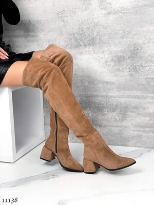 Женские натуральные замшевые сапоги ботфорты на устойчивом каблуке