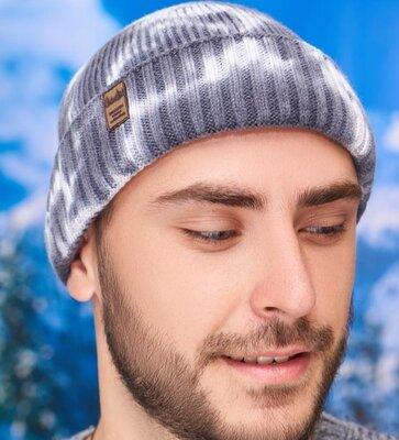 Продано: Мужская шапка осенняя в расцветке графит
