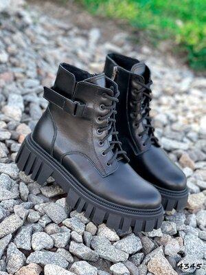 Демисезонные кожаные женские ботинки на байке женские ботинки nina,черевики 36-38р код 4345