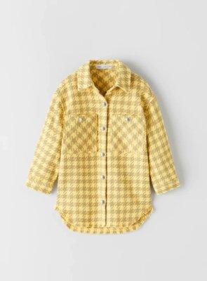 Сорочка рубашка Zara плотная рубашка сорочка Zara на девочку 9/134 см. Стильна плотна сорочка Zara
