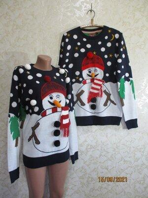 Продано: Новогодний свитер со снеговиком/family look/фемили лук/светр новорічний