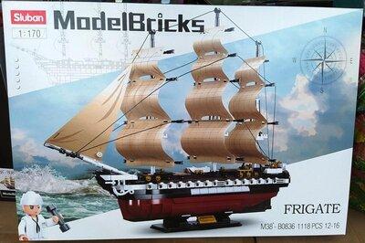 Конструктор Sluban M38-B0836 Модели кораблей Фрегат, 1 170, 1118 деталей