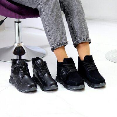 Ботинки женские зимние, натуральная кожа/ замша