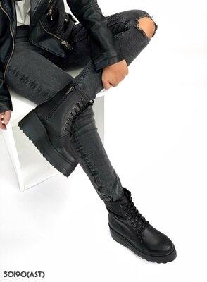Женские натуральные кожаные демисезонные ботинки на шнуровке на танкетке