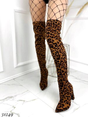 Женские леопардовые сапоги ботфорты чулки на устойчивом каблуке