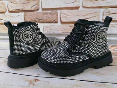 Стильные демисезонные ботинки - тимберленды для девочек сапожки ботинки стразы