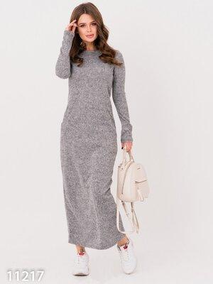 Ангоровое длинное платье с карманами И 11217