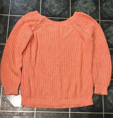 свитер персикового цвета 42-44р. кофта с вырезом лодочка джемпер вязанный свитшот