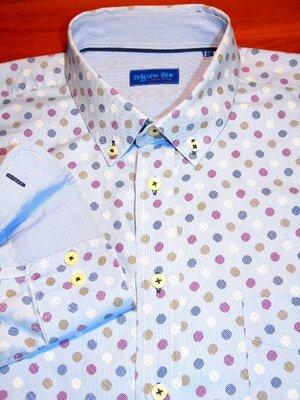 Продано: Шикарная голубая рубашка в принт - XL - XXL