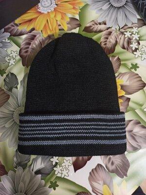 чоловіча шапка мужская шапочка с отворотом. вязаная двойная. черная с серыми полосками. новая. Нова