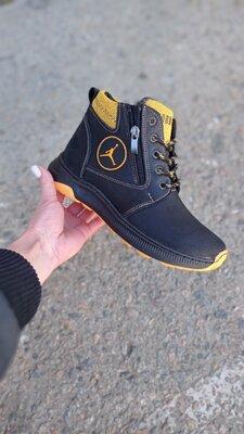 кожаные детские,подростковые зимние ботинки 36-39