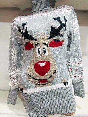 Вязаная зимняя туника-свитер с оленем 42-46 в расцветках