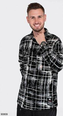 Мужская черно-белая рубашка S, M, L, XL