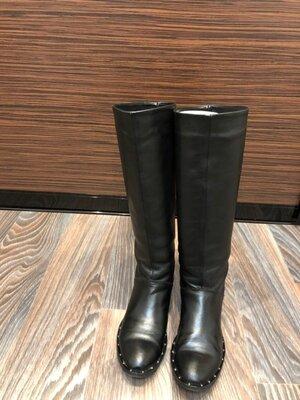 Сапоги демисезонные кожаные натуральная кожа 38 38,5 39