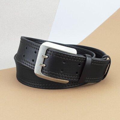 Ремень мужской широкий кожаный черный 5 см kb-50-02 135 см