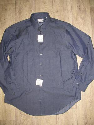 Calvin klein коттоновая рубашка - р 17 34/35 оригинал