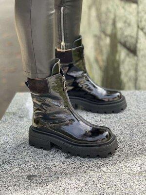Женские ботинки Код к3325 Натуральный лак Цвет черный Внутри байка или мех на выбор Размеры 36-40 л