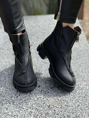 Женские ботинки Код кА-01 Натуральная мат кожа Цвет черный Внутри байка или мех на выбор Размеры 36