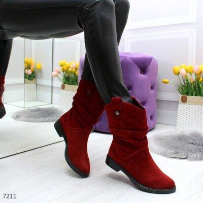 Красные замшевые демисезонные ботинки.полусапожки козаки бордовые деми натуральна замша