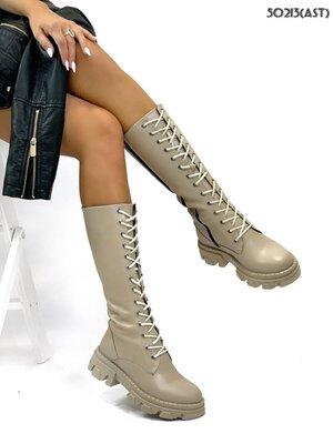 Женские натуральные кожаные чёрные бежевые сапоги сапожки на шнуровке