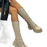 Женские натуральные кожаные демисезонные чёрные бежевые сапоги сапожки на шнуровке