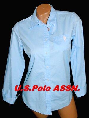 U. S. POLO ASSN Шикарная брендовая голубая рубашка - M - S