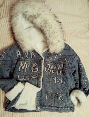2 цвета Женские теплые джинсовые куртки на меху